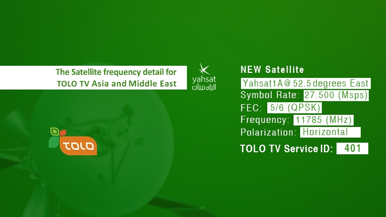 New Satelite and Frequency | TOLO TV On yahsat 1a (52 5 degrees east